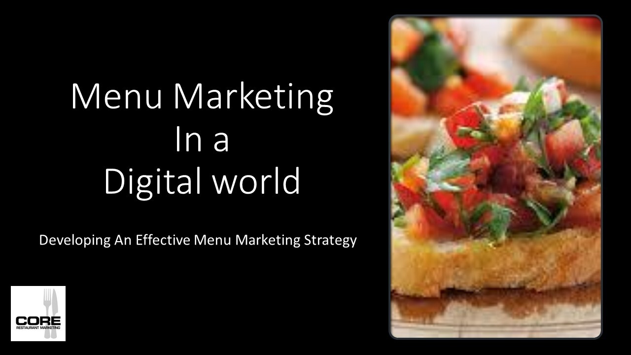 Menu Marketing In a Digital World